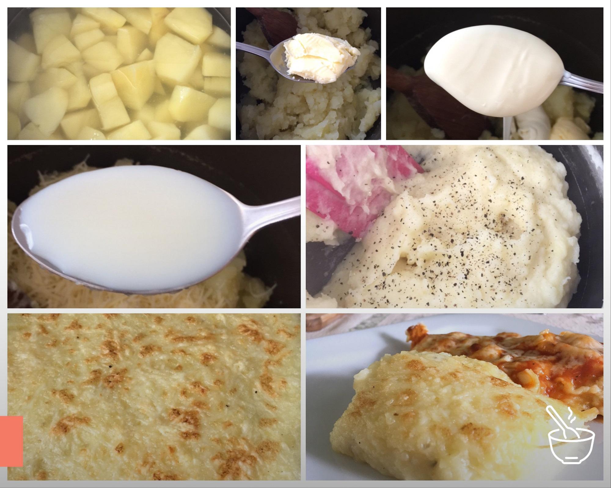 Purê de batatas cremoso e gratinado