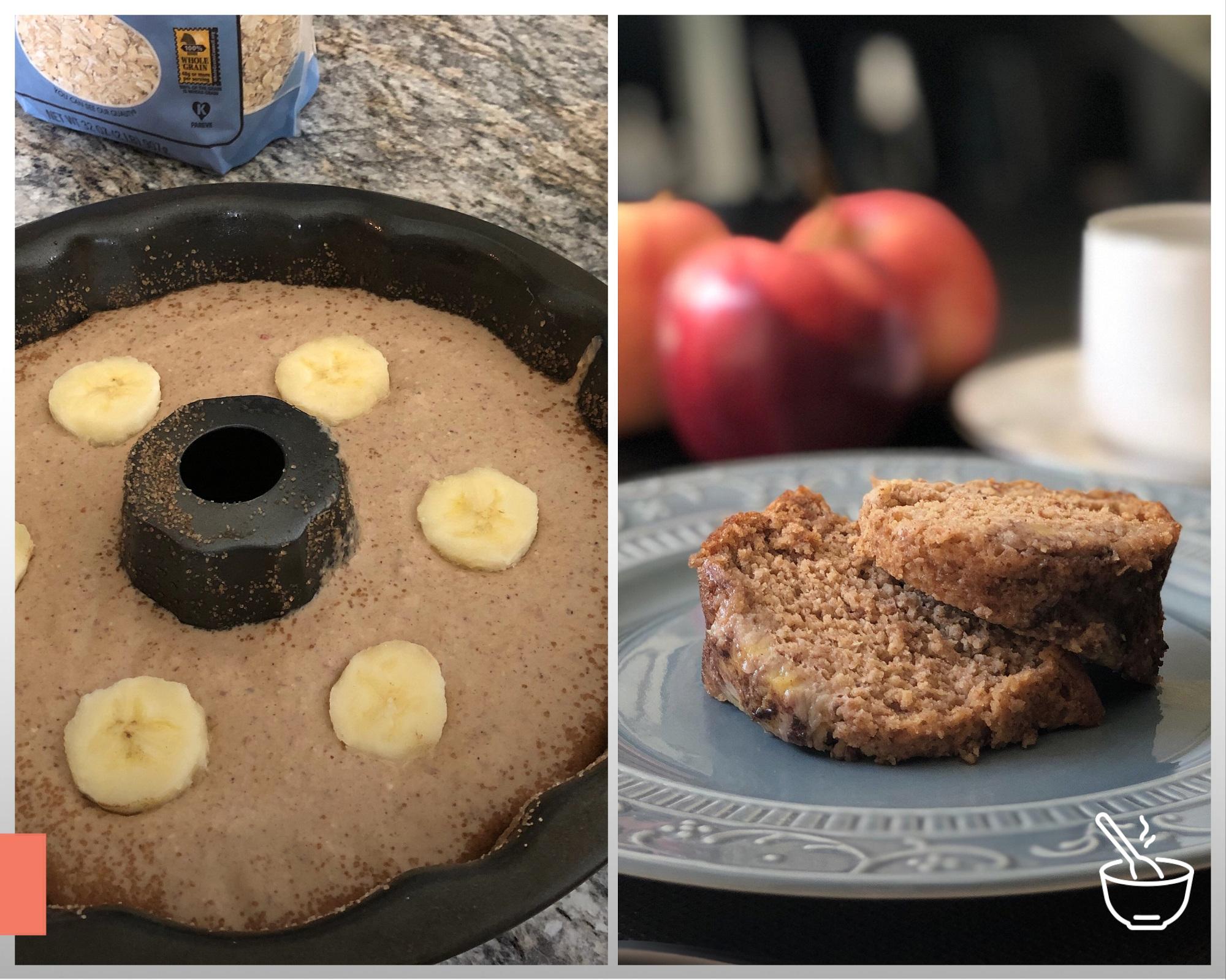 Bolo de maçã e banana sem açúcar