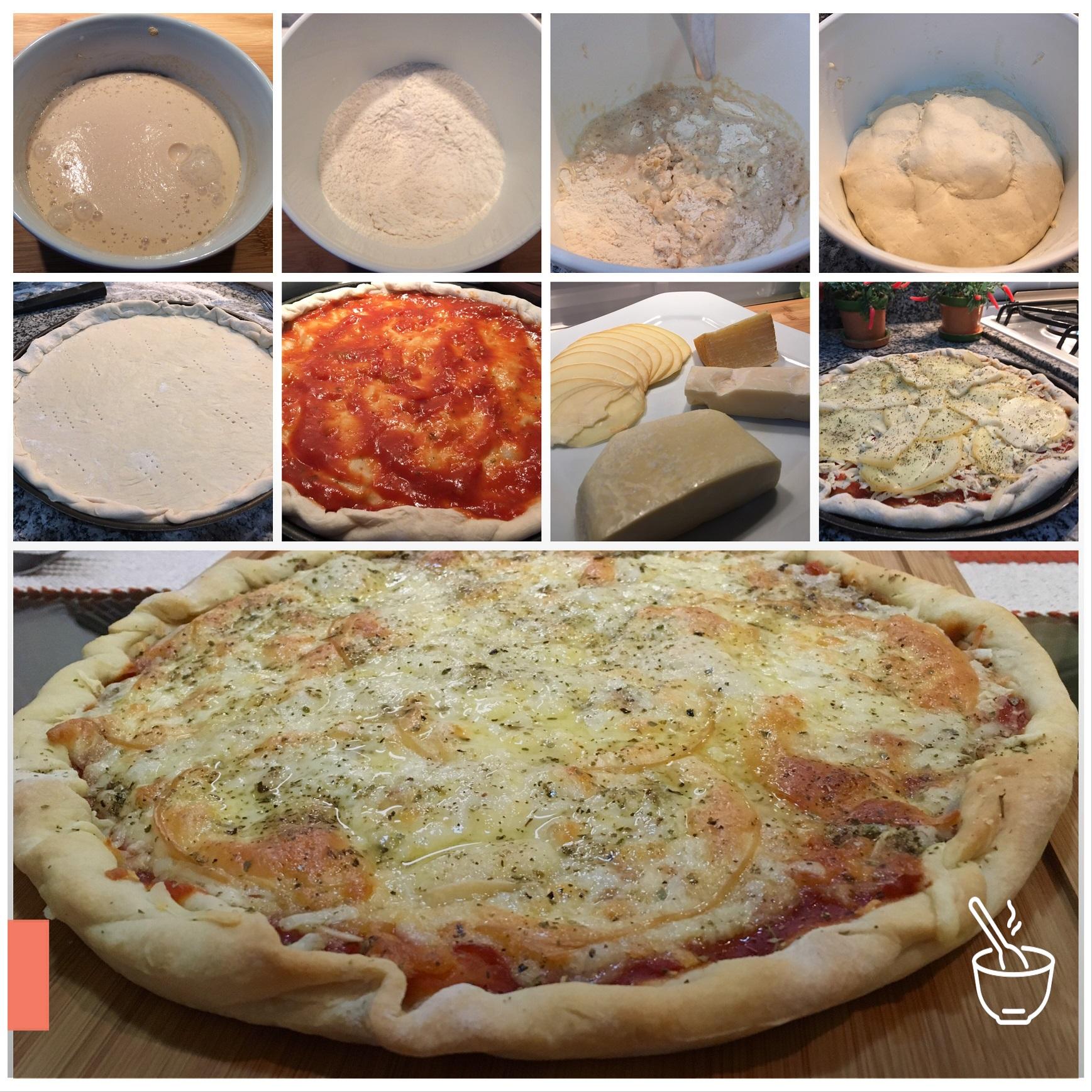 Massa de pizza com cachaça