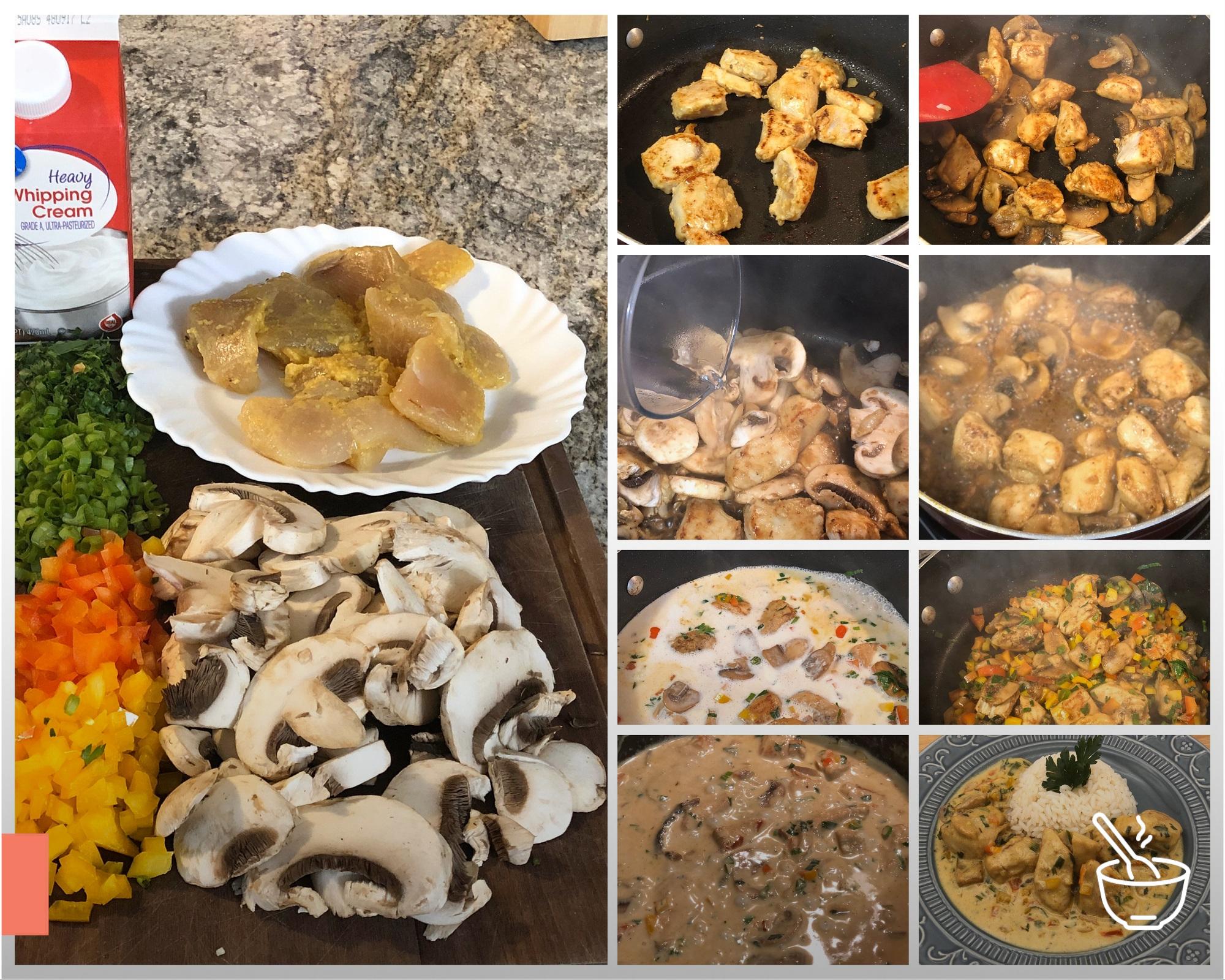 Frango cremoso com curry